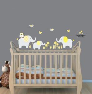 Cheerful Jungle Theme Wall Decals With Elephant Stickers For Boys