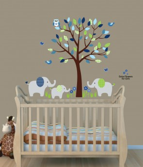 Green Safari Nursery Wall Decals With Elephant Wall Decal For Kids Rooms Part 69