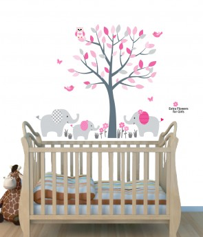 Pink Nursery Jungle Wall Decals With Elephant Wall Art For Kids