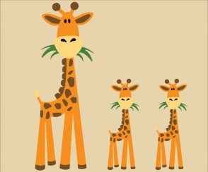 Three Giraffe Wall Decals For Children