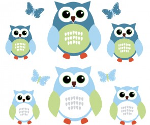 Blue and Grey Owl Tree Wall Decal With Butterfly Wall Clings For Boys