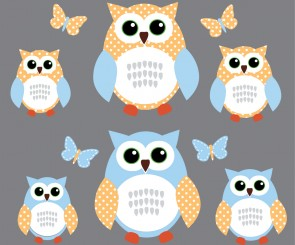 Blue and Green Owl Wall Decal With Butterflies Wall Decals For Children