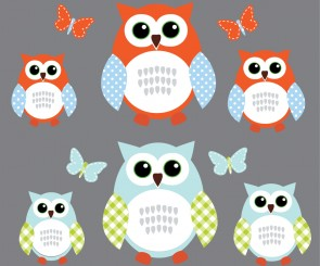 Blue and Orange Owl Decals With Butterfly Wall Art For Boys Rooms