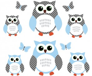 Blue and White Owl Decals With Butterfly Wall Stickers For Children