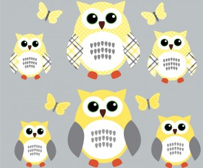 Yellow and Gray Owl Wall Art With Butterfly Wall Sticker For Girls