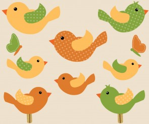 Eight Bird Stickers For Play Rooms