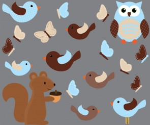 Squirrel and Bird Decal For Kids