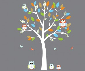 Orange and Blue Owl Wall Decor With Tree Wall Decals For Kids For Kids Rooms