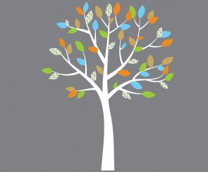 Orange and Blue Nursery Tree Decals For Kids Rooms