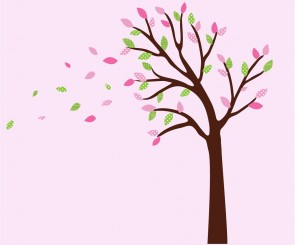 Pink and Green Blowing Large Tree Wall Decal For Girls Rooms