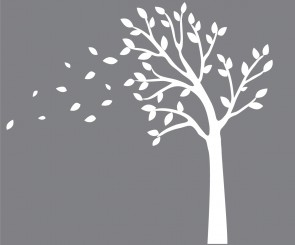 White Blowing White Tree Wall Decals For Kids