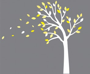 Yellow and Gray Blowing Leaf Wall Decals For Boys Bedrooms