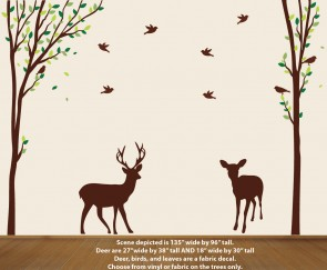 Nature Trees Wall Decal with Deer