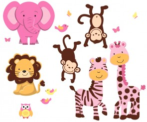 Pink Jungle Wall Decorations With Zebra Print Wall Decals For Girls