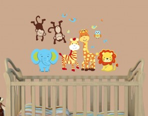 Jungle Tree Wall Decal With Giraffe Wall Sticker For Kids