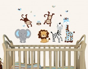 Blue Jungle Animal Wall Decals With Giraffe Wall Decor For Kids Rooms