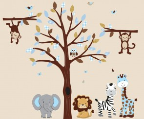 Blue and Brown Jungle Animal Wall Stickers With White Tree Wall Decals For Boys Bedrooms