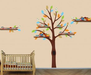 Green and Orange Shelf Wall Sticker Tree For Boys Bedrooms