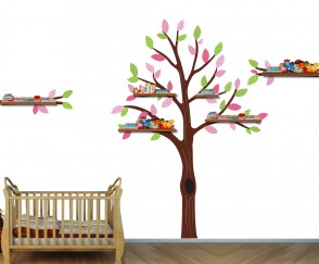 Pink and Green Shelf Tree Decals For Nursery For Girls Rooms