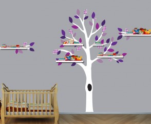 Purple and Gray Shelf Wall Decal Tree For Girls