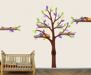 Purple and Green Shelf Wall Sticker Tree For Girls Rooms