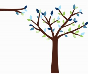 Green and Blue Black Tree Wall Decal For Kids Rooms