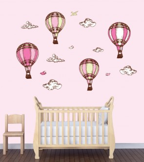 Childrens Bedroom Wall Stickers & Hot Air Balloon Wall Decor For Kids Rooms