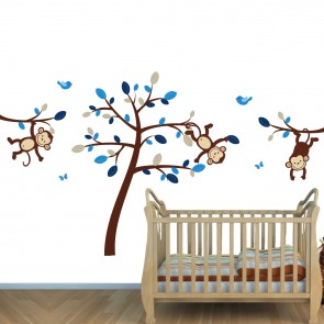 Brown & Blue Jungle Murals For Kids & Monkey Wall Art For Boys Rooms