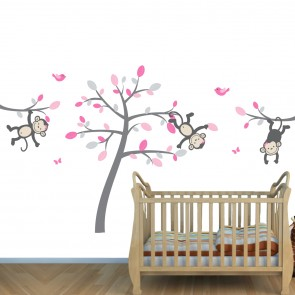Pink and Gray Jungle Wall Mural With Monkey Decals For Girls Bedrooms