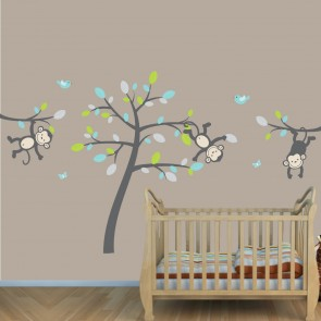 Teal & Gray Jungle Nursery Wall Decals With Vine Wall Decals For Kids