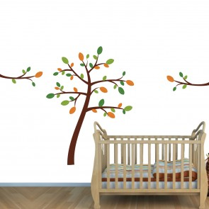 Orange & Green Jungle Wall Mural & Nursery Tree Wall Decal For Baby
