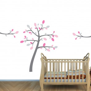 Pink & Gray Safari Wall Art With Tree Wall Decal For Girls