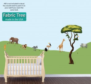 Peel And Stick Wall Decor With Jungle Animals and Tree Wall Art For Children
