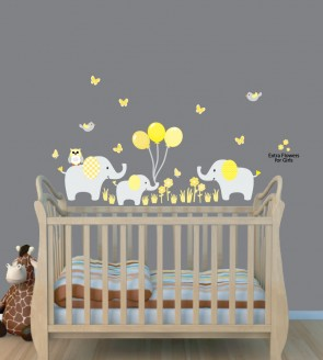 Jungle Safari Stickers With Elephant  Wall Sticker For Kids Rooms
