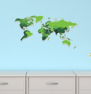 Removable Wall Art Stickers With World Map Wall Decals For Kids