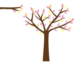 Pink and Orange Tree Wall Art For Girls Bedrooms