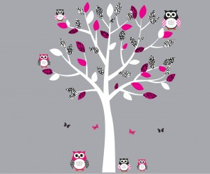 Pink and Black Owl Decals With Tree Branch Wall Decal For Children