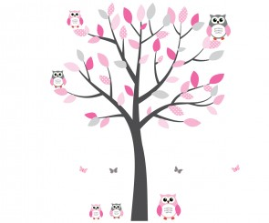 Pink and Grey Owl Art For Kids With Tree Wall Sticker For Girls Rooms