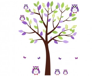 Purple and Green Owl Decal With Tree Decals For Nursery For Girls