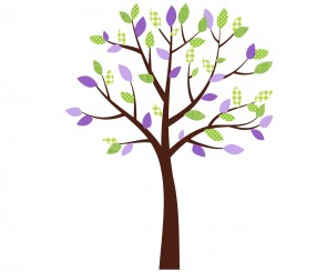 Small Purple and Green Nursery Wall Decals Tree For Girls Bedrooms