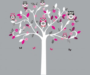 Pink and Black Scroll Tree Wall Stickers For Girls Bedrooms