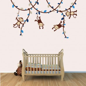 Boy Vine: Blue and Brown - Monkey Decals