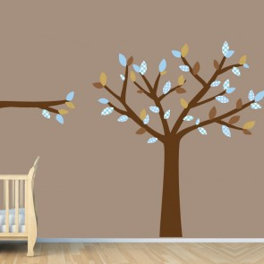 Blue and Brown Tree Wall Decal For Nursery For Boys Rooms