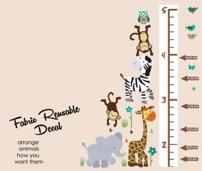 Jungle Murals With Growth Chart Decals For Kids Rooms