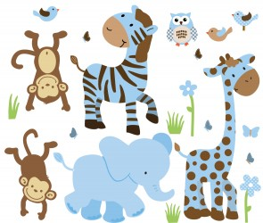 Blue & Brown Nursery Jungle Wall Decals With Zebra Decals For Boys Rooms