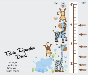 Blue & Brown Safari Wall Art With Height Wall Chart For Children