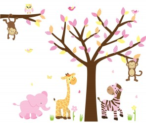 Pink & Orange Safari Wall Stickers With Tree Wall Decals For Nursery For Play Rooms