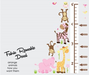 Pink & Orange Safari Wall Murals With Wall Growth Chart For Play Rooms