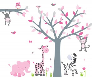 Pink & Gray Safari Wall Murals With Tree Wall Murals For Girls Rooms