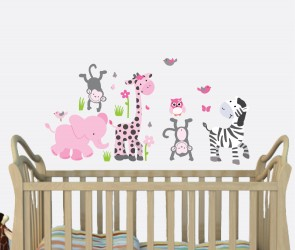 Pink & Gray Safari Wall Art For Girls